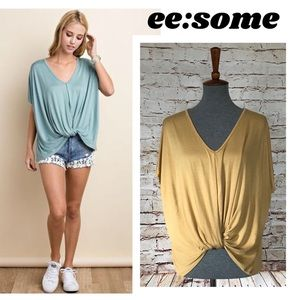 ee:some :beautiful Slub Knit Twist-Front Blouse